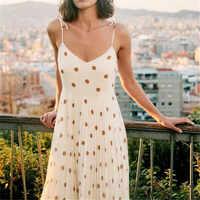 Women style sleeveless bow print midi dress spaghetti strap backless female casual mid calf dresses summer chic cosy vestido
