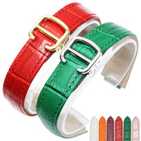 18mm(11mm Watch Lug) High Quality red Brown Genuine Leather Watch Band Strap Gold deployment Buckle Clasp fit Cartier watchband