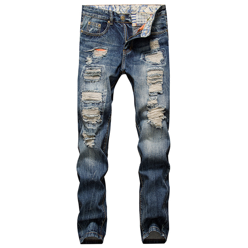 Mens Retro Blue Hole Jeans Mens Solid Washing Straight Jeans New Korean Style Casual Trousers 100% Cotton Denim Pants Man