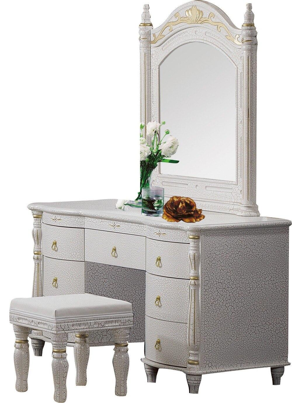 US $599.0 |Camera da letto mobili per la casa dresser table con 7 cassetti  specchio e sgabello stile moderno KD confezionato materiali di legno-in ...