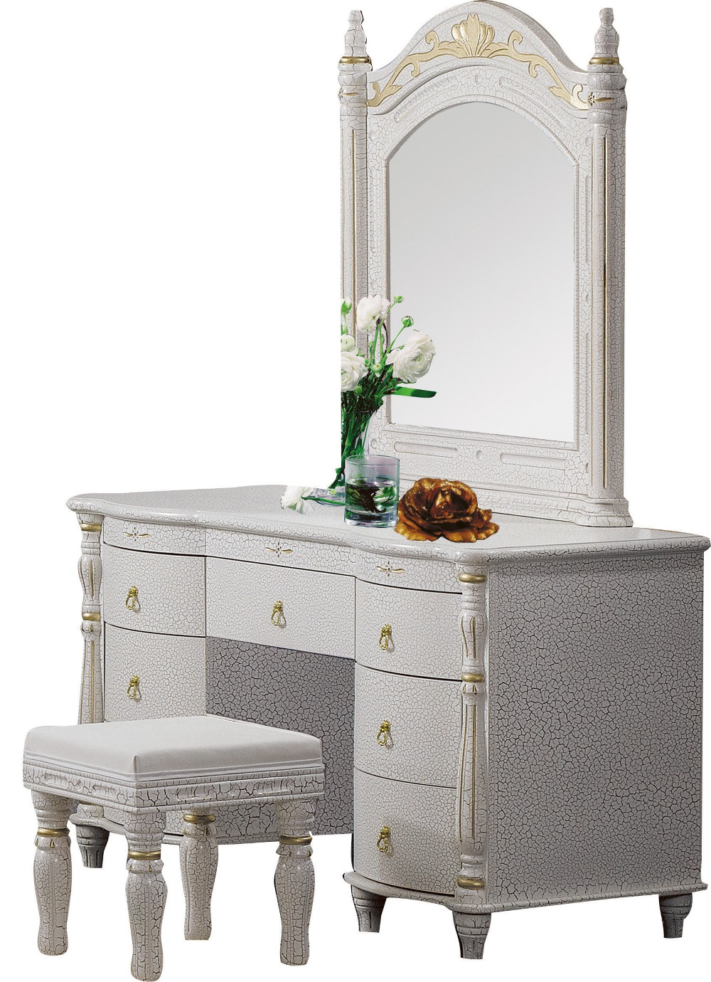 Bedroom Home Furniture Dresser Table With 7 Drawers Mirror