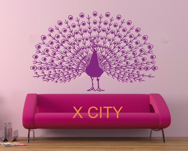 peafowl dance peacock bird wall art graphic sticker die cut vinyl