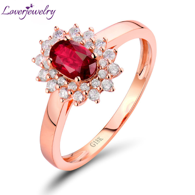 LOVERJEWELRY Lady Ruby Rings Pure 18Kt Rose Gold 1.03Ct Diamonds Natural Red...