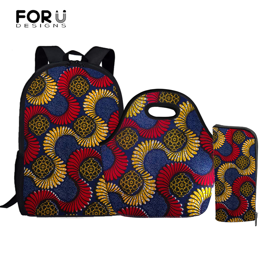 FORUDESIGNS African Design Kids School Bag Set Girl Schoolbag 3 Pcs/Set Orthopedic Backp ...