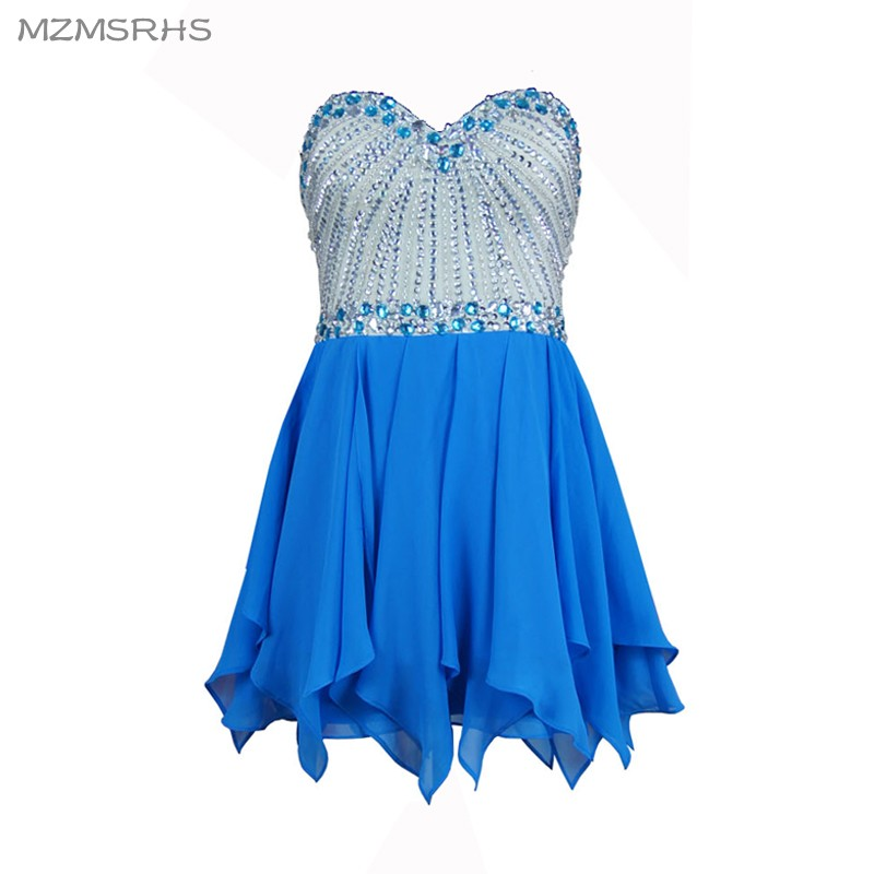 Mzmsrhs короткие Exqusite Homecoming платья Великолепная Кристалл бисера класс выпускные для выпускного вечера партии девушки платье