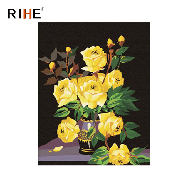 Rihe Yellow Rose Diy Painting By Numbers Flower Vase Oil Painting