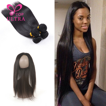 8A Brazilian Virgin Hair With 360 Frontal Closure 2pcs Straight Brazilian Hair Weave Bundles With 360 Lace Frontal Band Closure