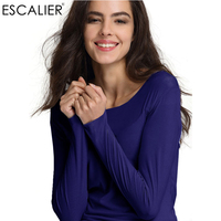 ESCALIER 2017 Spring Casual Solid Cotton Basic Women O Neck Regular T Shirt S M L