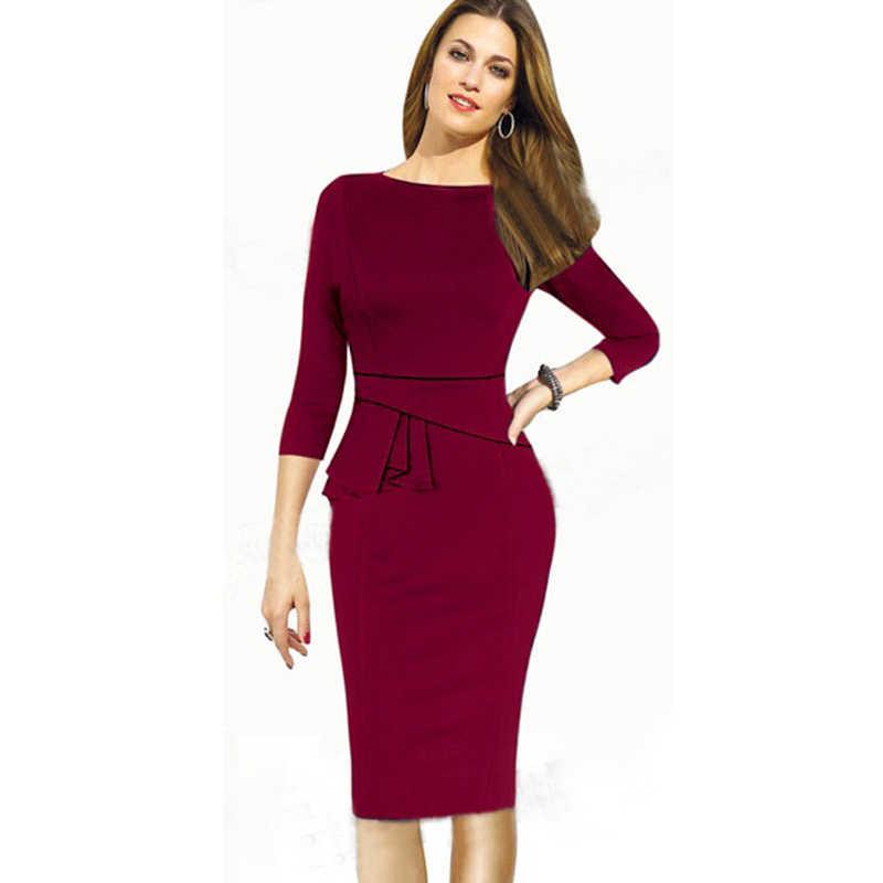 fd2bb696da New Fashion Women O-neck 3 4 Sleeve Work Midi Dresses Elegant Bodycon Office
