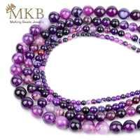 Natürliche Stein Lila Streifen Achate Onyx Runde Perlen Für Jewerly Machen 4 6 8 10 12mm Spacer Perlen Diy armband Großhandel Perles