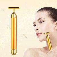 24 k золотой вибромассажер для красоты лица Бар для похудения ролик для лица подтяжка кожи уменьшение морщин двойной подбородок электрическ...