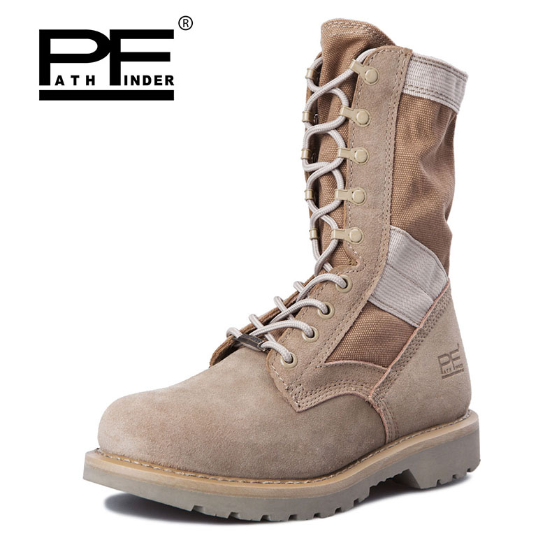 Pathfinder Designer Men Military Tactical Boots For Men's Outdoor Hunting Desert Black Motorcycle Army Combat Leather Shoes
