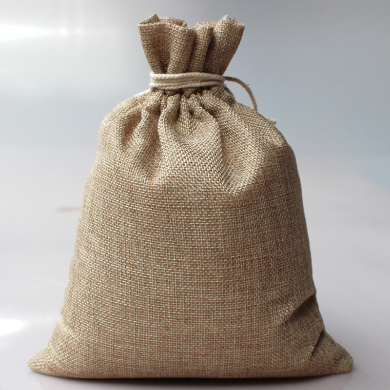 50pcs/lot 7X10cm Hand-made Small Gift Bags, Jute Drawstring Pouches, Burlap Gift Bags