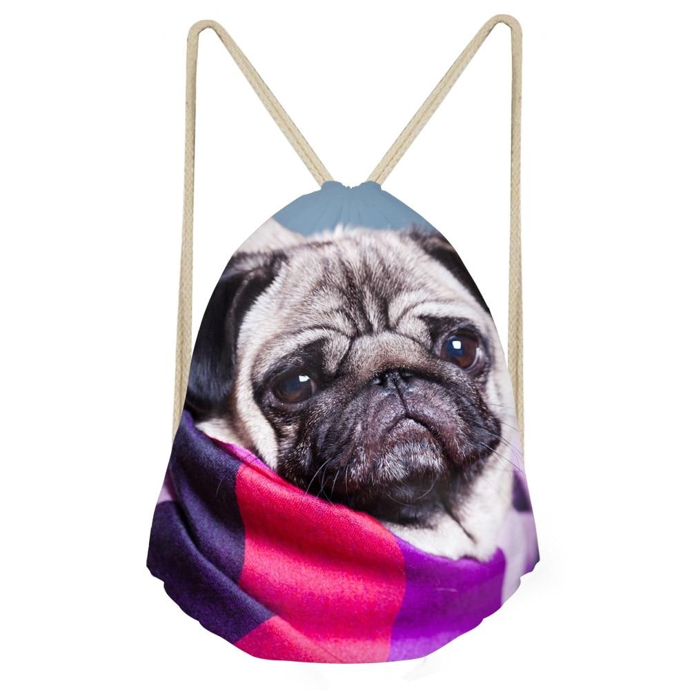 Casual Teens Girls Drawstrings Bags Cute 3D Animal Pug Dog Print Travel Storage Backpacks Softback Womem