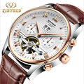 Men's Watch Automatic mechanical watches tourbillon watches Leather Casual business watches relojes hombre top brand KD luxury