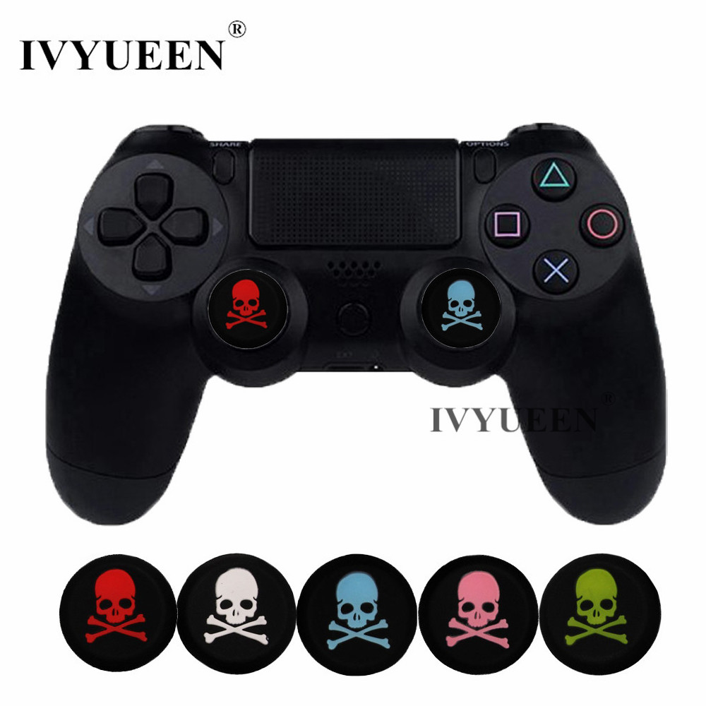 IVYUEEN 4 Pcs For Dualshock 4 PS4 Pro Slim Controller Skulls Rubber Silicone Analog Thumb Stick Grips Caps For PS3 For Xbox 360