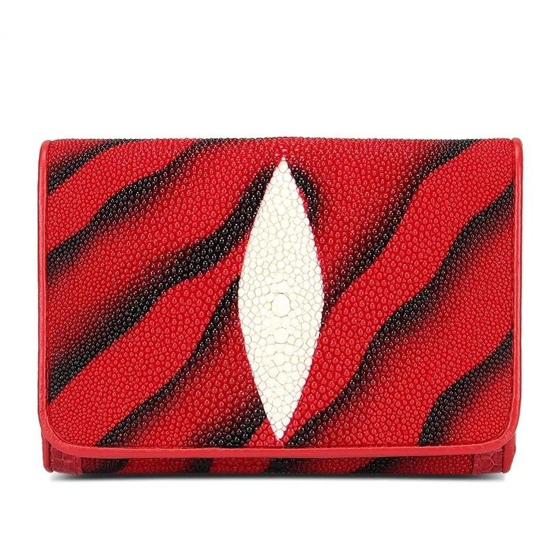 Mode unisexe Designer femmes porte carte luxe rouge portefeuilles véritable peau de Stingray noir embrayage en cuir naturel homme court sac à main-in Portefeuilles from Baggages et sacs    1