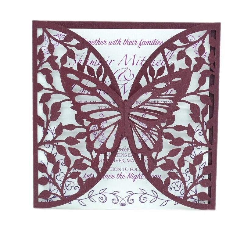 Toppers tarjetas 25 3D Purple Butterfly /& Corazón Boda Marfil Bautizo
