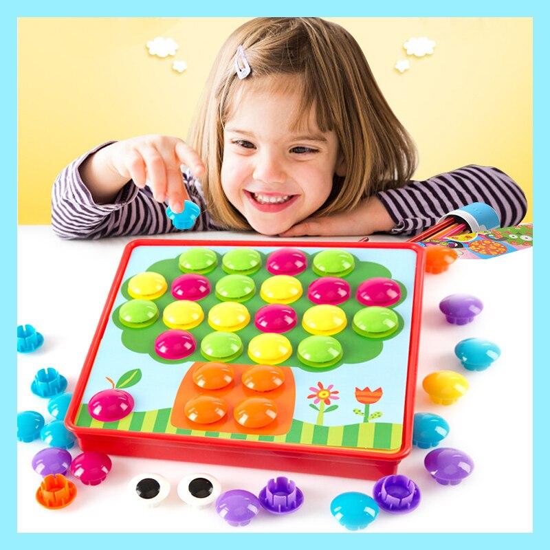 Kids Toy 3D Puzzle Hračky pro děti Kompozitní obrázek Puzzle Creative Mosaic Hřebík nehty Kit Vzdělávací hračky Button Art