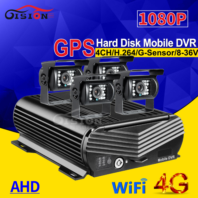 Онлайн 4CH H.264 жесткий диск HDD 4G GPS Wifi Автомобильный регистратор Мобильный Dvr комплект с 4 шт. наружной автомобильной камеры водонепроницаемый для автобуса такси фургона
