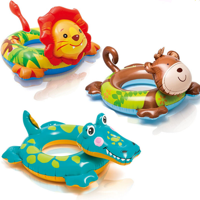 Summer Kids Child Cartoon swim ring lion Monkey Crocodile Inflatable Swimming boat Game Float toys Water pool tube