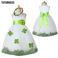 Kids Infant Petals Flower Girl Dress Children Bridesmaid Toddler Elegant Tutu Dress Pageant Wedding Tulle Formal