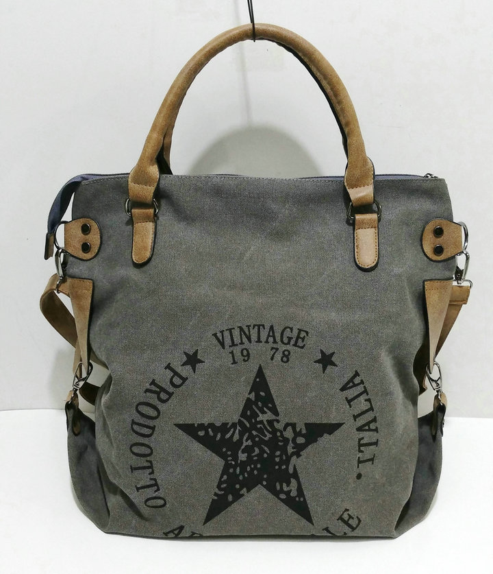Rdywbu VINTAGE BIG STAR PRINTED CANVAS TOTE HANDBAG - Women's Multifunctional Travel Shoulder Bag Letters Messenger Bolsos B211
