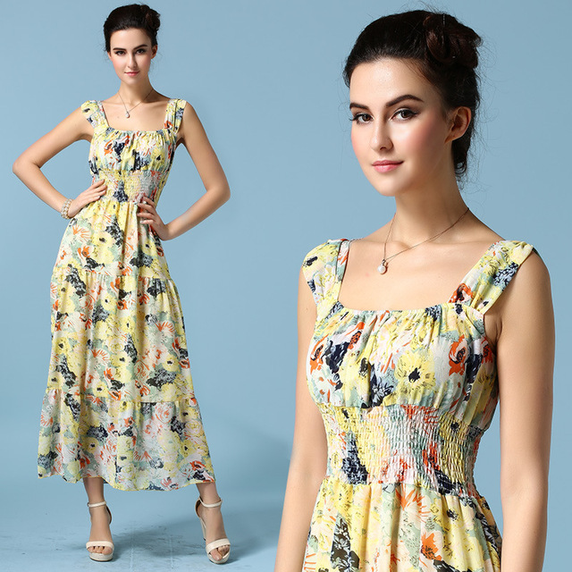 db47aaef4b New Arrival Summer Chiffon dress Sleeveless O-neck with Floral Pattern  Flower Printing composite filament elastic ribbon dresses