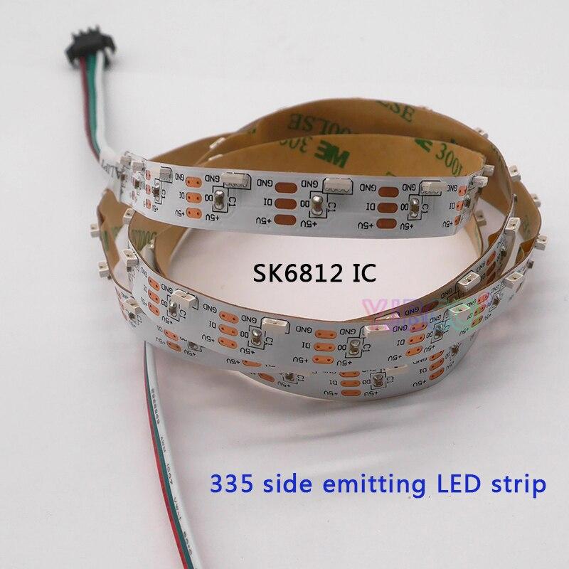 Côté émettant 335 numérique 1 m/5 m adressable 60 LED s/m 90 LED s/m SK6812 IC contrôle LED blanc PCB IP30 DC5V LED bande lumineuse
