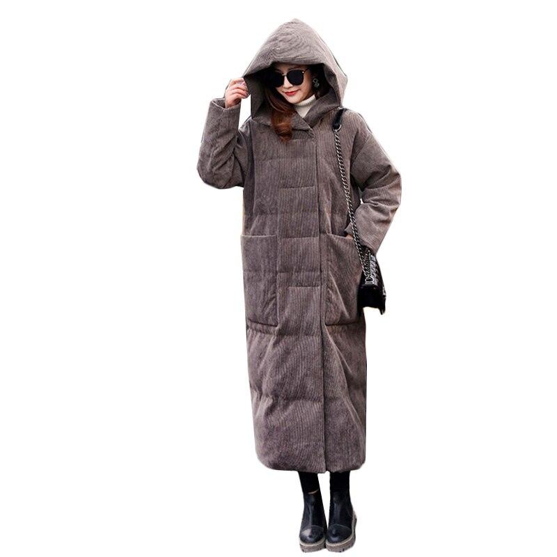 Пуховик женский 2018 модная зимняя куртка Женский пуховик с капюшоном длинное Пальто утепленное теплое пальто женский пуховик