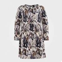New Designer Autumn Clothes Girls Dress Horse Animal Print Long Sleeve Kids Clothes Vestidos Infant Children