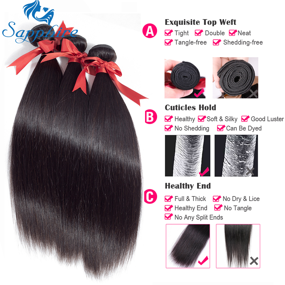 Safir brasilianska Straight Human Hair Bundles 100% Remy Hair Weave - Barbershop - Foto 2