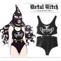 "2017 custom ""negro diablo metal triángulo Siameses chaleco/6 jefe de cremallera midriff mes"