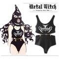 """2017 personalizado """"black metal diabo triângulo Siamese vest/6 cabeça zipper midriff mês"""