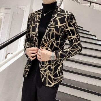 YUSHU New Slim Fit Casual Men Blazer Jacket Wedding Prom Suit Jacket Men Korean Trendy Single Breasted Blazer Homme