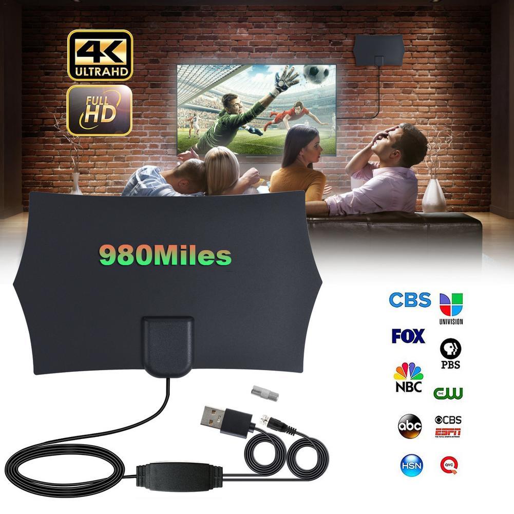 980 Miles 4K Digital HDTV Indoor TV Antenna With Amplifier Signal Booster TV Radius Surf Fox Antena HD TV Antennas Aerial
