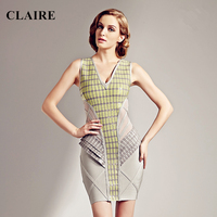 Claire 2015 Fall Winter Grey Patchwork V Neck Sleeveless Vintage Ladies Bodycon Party Rayon Dress Womans