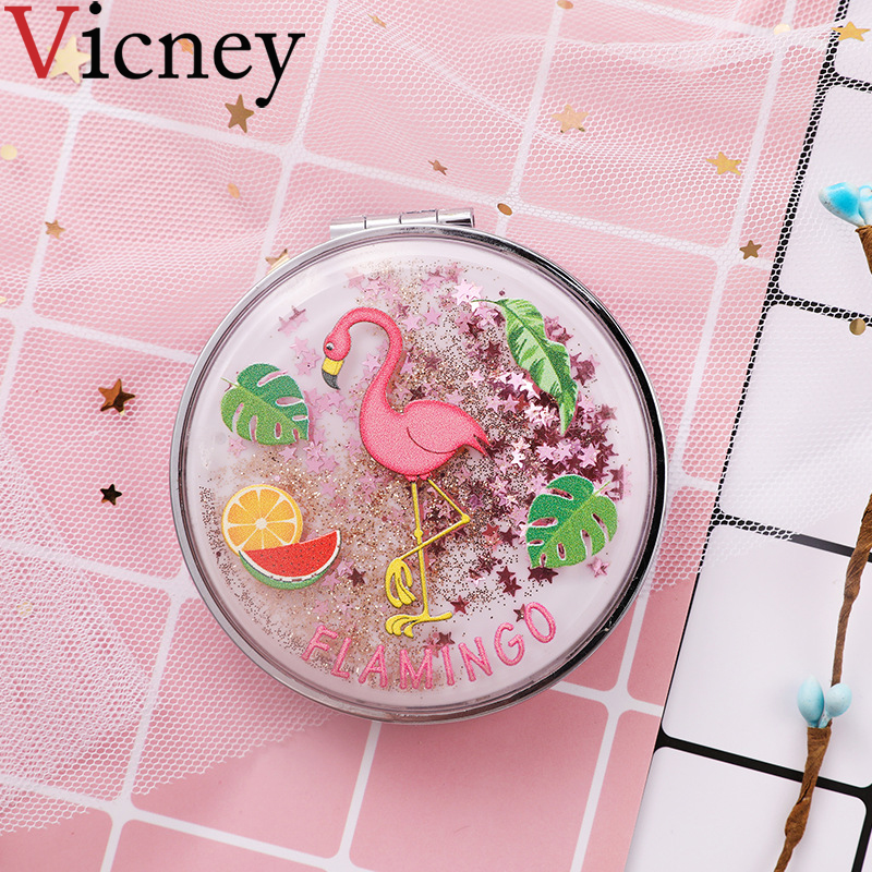 Mini Makeup Mirror Compact Pocket Mirror Portable Double Sided Folding Cosmetic Mirror Female Gifts With flowing sparkling sand in Makeup Mirrors from Beauty Health