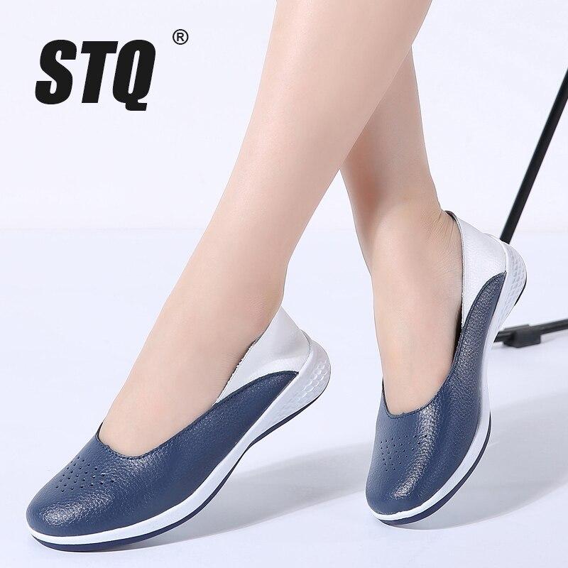 STQ 2019 Autumn Women Leather Loafers Cutout Ballet Flats Shoes Female Flat Nursing Shoes Woman Slip On Loafers Slipony 7699