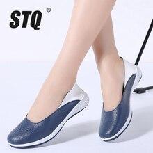 Mocassins de couro femininos stq, sapatos baixos de bailarina, slip on, loafers, slip on, outono 2020, 7699
