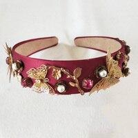 Rojo Venda Nupcial de La Boda de Oro mariposa Cinta Diademas Diademas Accesorios Para El Cabello Nupcial tiaras de Novia