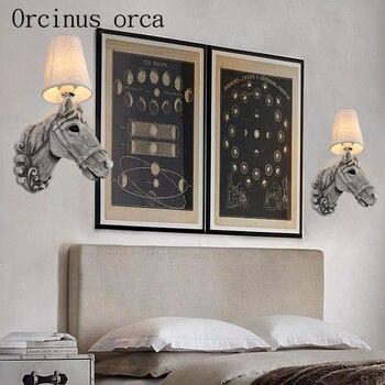 конский декор для спальни | Американский стиль, креативный Ретро настенный светильник с головой лошади, для ресторана, отеля, коридора, спальни, прикроватная декоратив...