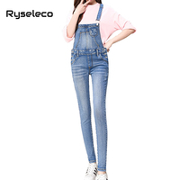 Ryseleco Preppy Style Students Jeans Skinny Front Big Pockets Bib Overalls Suspender Wash Plus Size Denim