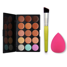 Cheap Makeup Set Brush Sponge Puff  + Power Brush+Sponge Puff +15 Color Make Up Concealers