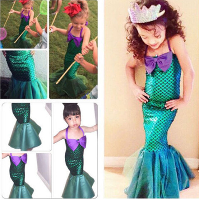 Princess Ladies kids girl Halloween cosplay Costume Fancy Party Sequins  Maxi Tail long green Skirt adult Little Mermaid Ariel b3d7f1aed4f2