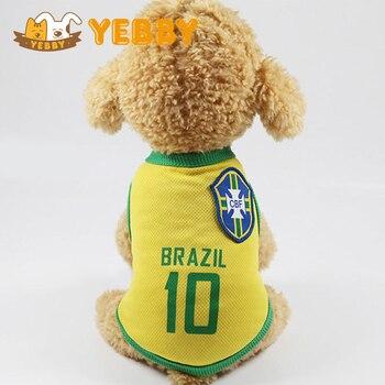 Medium Small Dog Football Shirt Clothes Brazil Number 10 Rivaldo Ronaldinho Neymar Vest Teddy Puppy Sport Costume number
