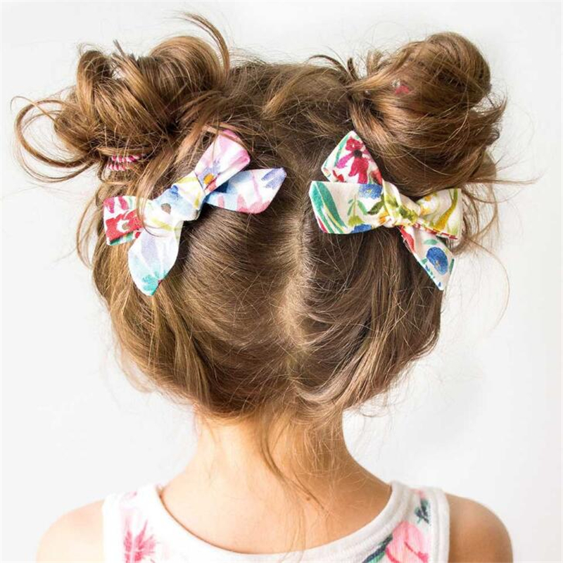 2019 Lovely Baby Girls Print Flower Bohemian Style Bow BB Hair Clips   Headwear   Children Cute Cotton Hairpins Hair Accessories
