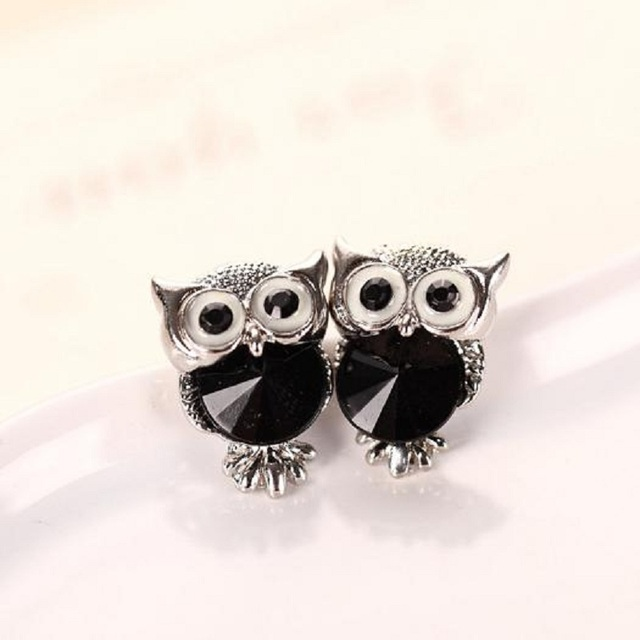 SHUANGR Brand Jewelry Crystal Owl Stud Earrings For Women Vintage Gold-Color Animal Statement Earrings Brincos Free Shipping