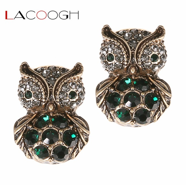 Lacoogh 2017 New Vintage Gold Color Crystal Owl Earrings Studs For Women Statement Brincos Fashion