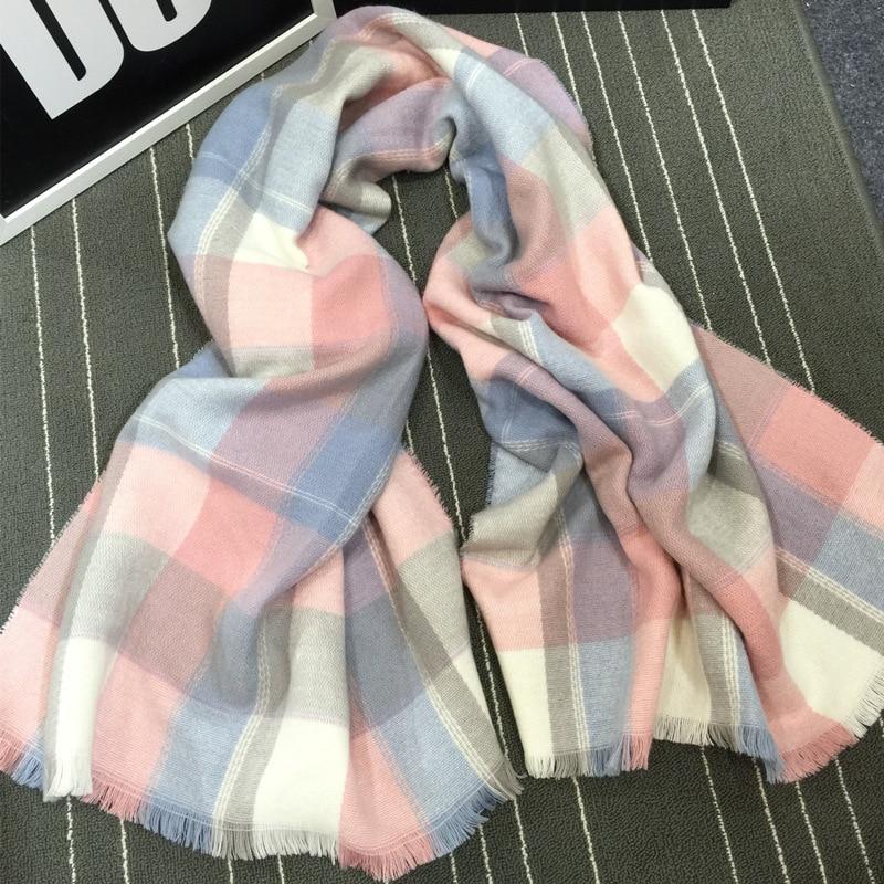 Autumn Winter 2016 Warm font b Tartan b font Plaid Scarf New Designer Thick Women Cashmere